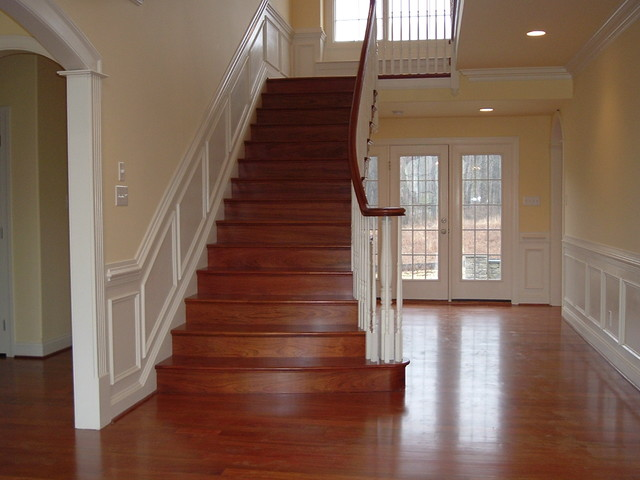 Nice Brazilian Cherry Stairs With Wainscoting Traditional Staircase