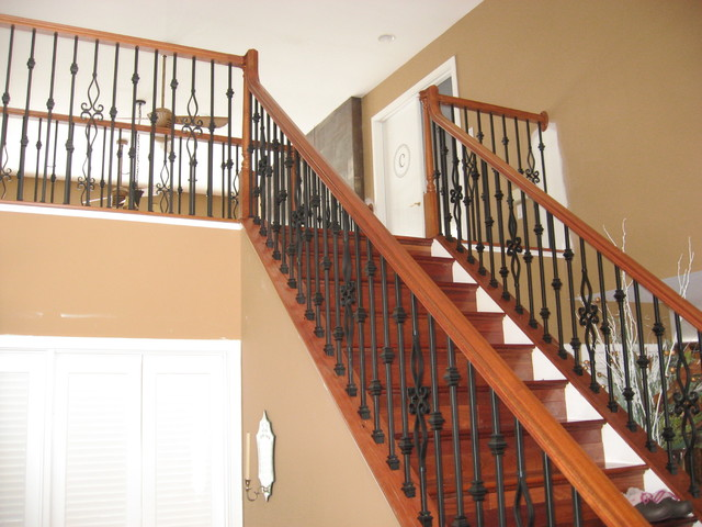 Brazilian Cherry Wood Newel Posts, Rails and Iron Balusters - Traditional - Staircase - dc metro ...