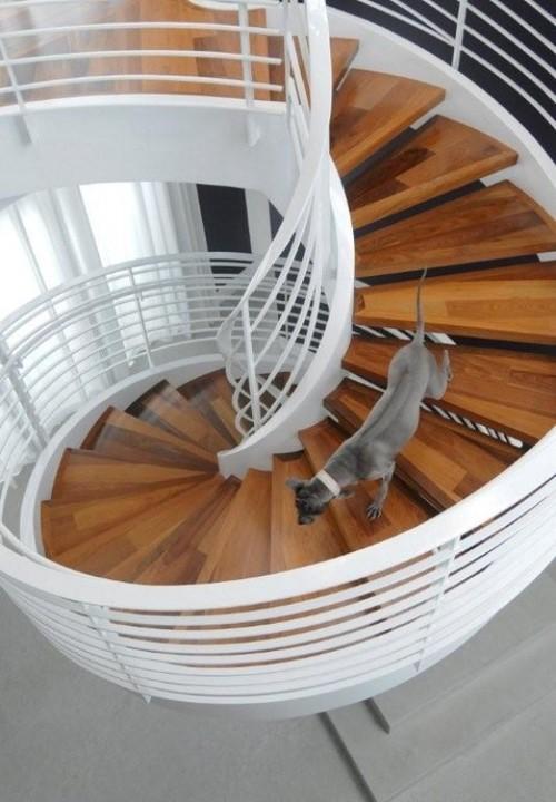 A cicular, concrete, two-stringer staircase