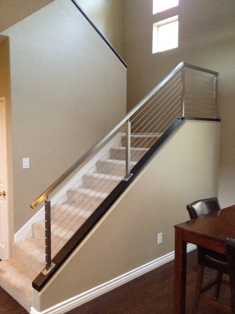 Brushed Stainless Steel Railing Contemporary Staircase