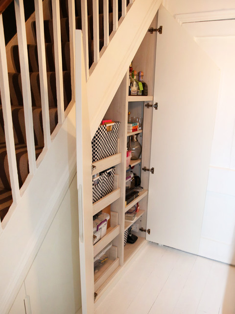 Bespoke Under Stairs Shelving: Built In Shaker Style Under Stairs Storage