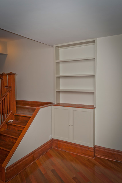 Cabbagetown built-in bookcase traditional-staircase