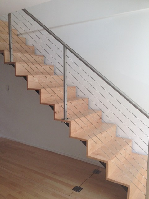 Cable Railing And Custom Interior Staircase Contemporary Staircase Other Metro By Capozzoli