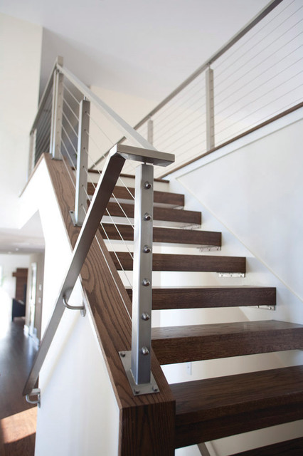 Cable Rails Open Treads Contemporary Staircase Minneapolis