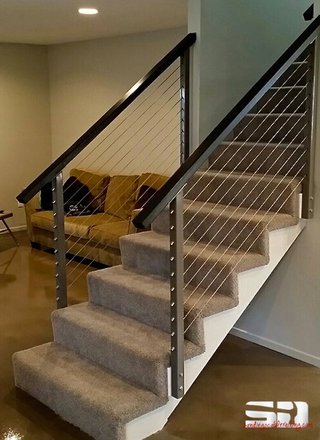 Cable Stair Railing - Contemporary - Staircase - San Diego ...