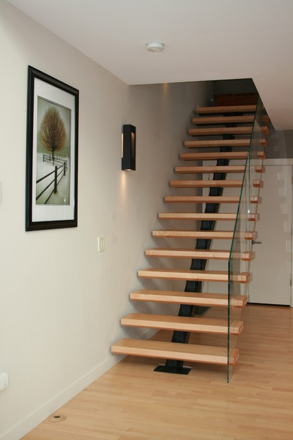 Canton loft transitional staircase boston by jff for Free floating stairs