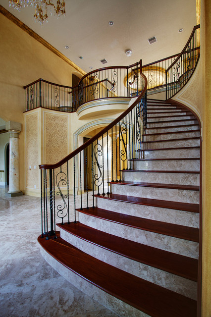 Cappuccino Marble Tiles Traditional Staircase Tampa