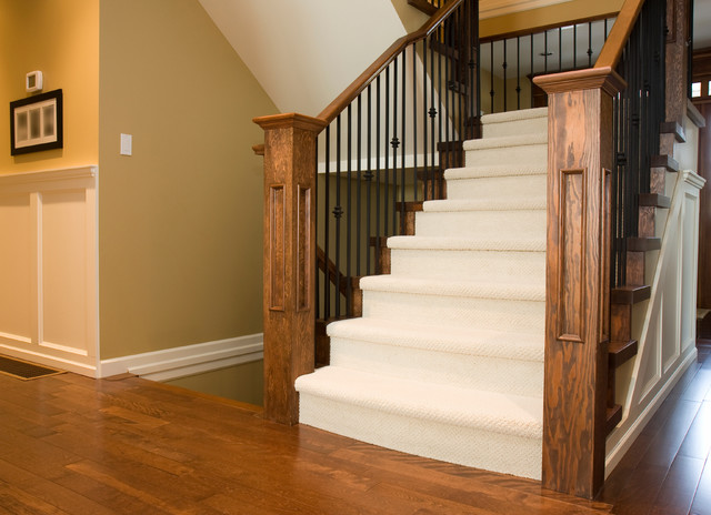 Carpeted Stair Case With Hardwood Landing Contemporary