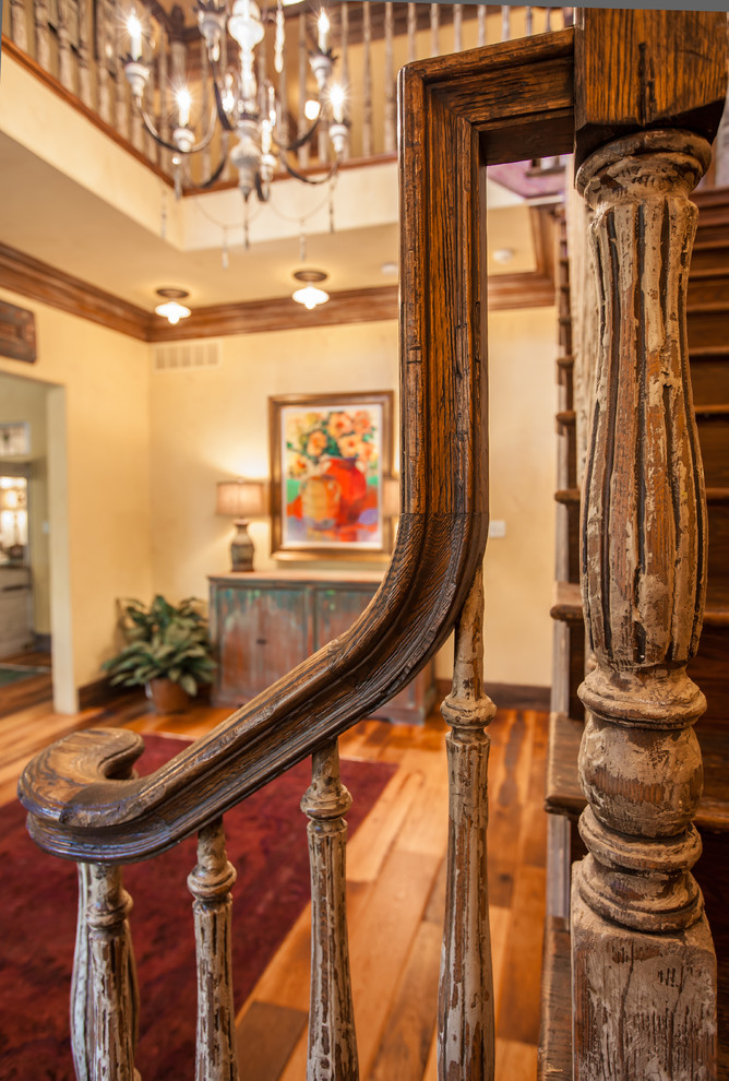 Inspiration for a rustic staircase remodel in Dallas