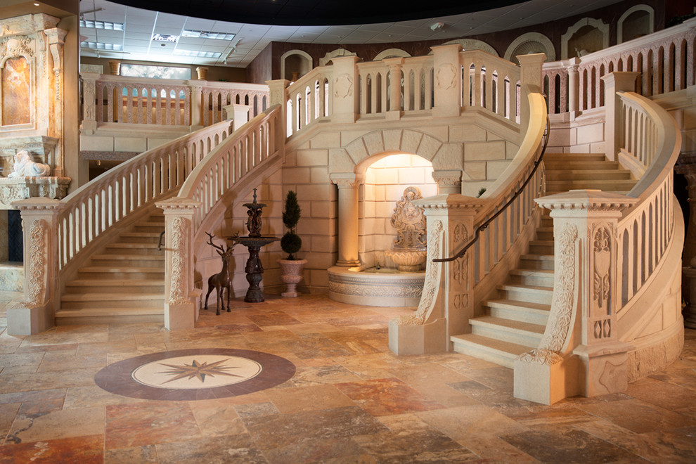 Inspiration for a huge mediterranean curved staircase remodel in Other