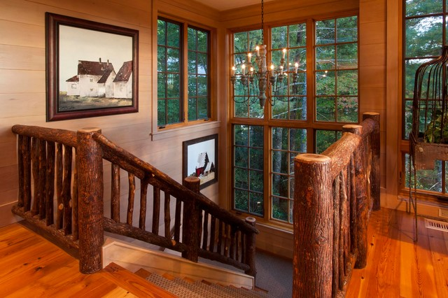 Staircase   Rustic Wooden U Shaped Wood Railing Staircase Idea In Other