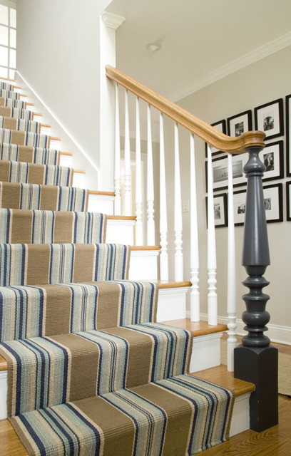 Set Staircases Racing With A Striped Stair Runner