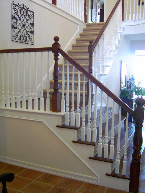 Ceramic Tile Stair Riser With Solid Dark Oak Tread Traditional Staircase San Luis Obispo