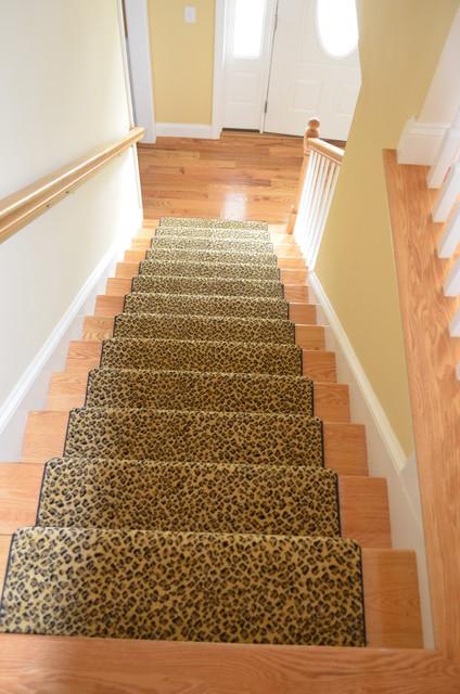 Cheetah Print Stair Carpet Traditional Staircase