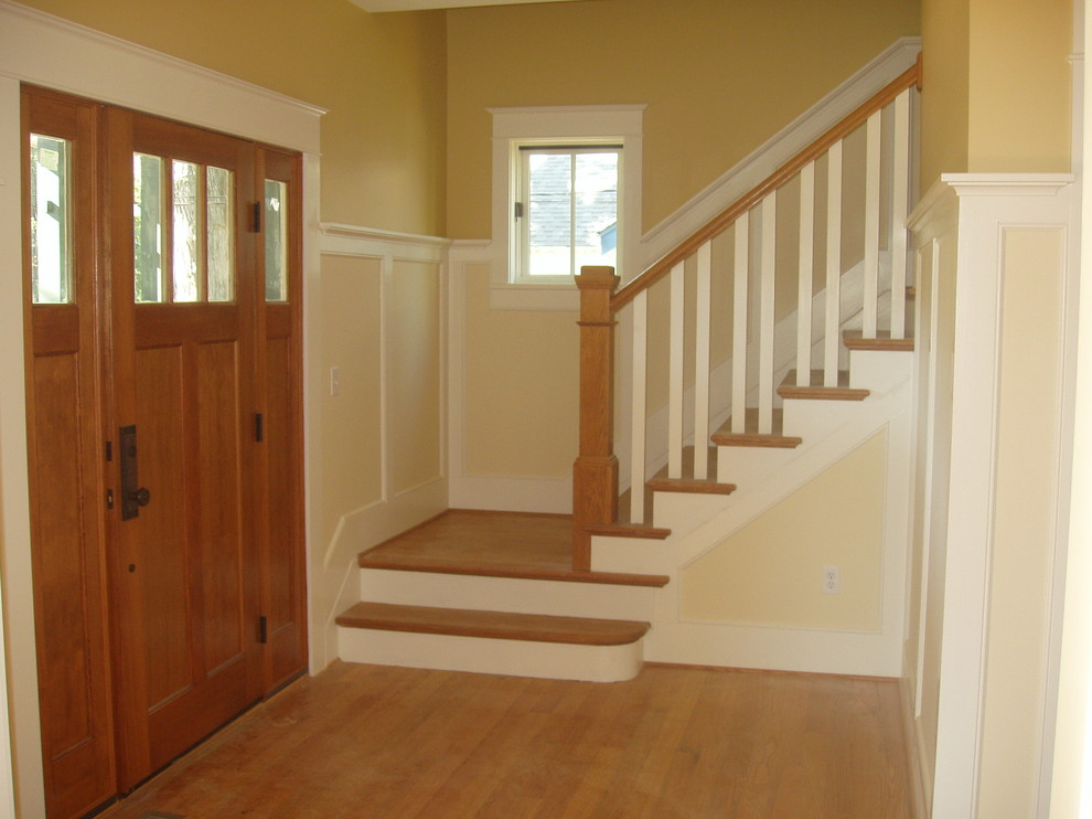 Inspiration for a mid-sized craftsman wooden l-shaped staircase remodel in Baltimore with painted risers
