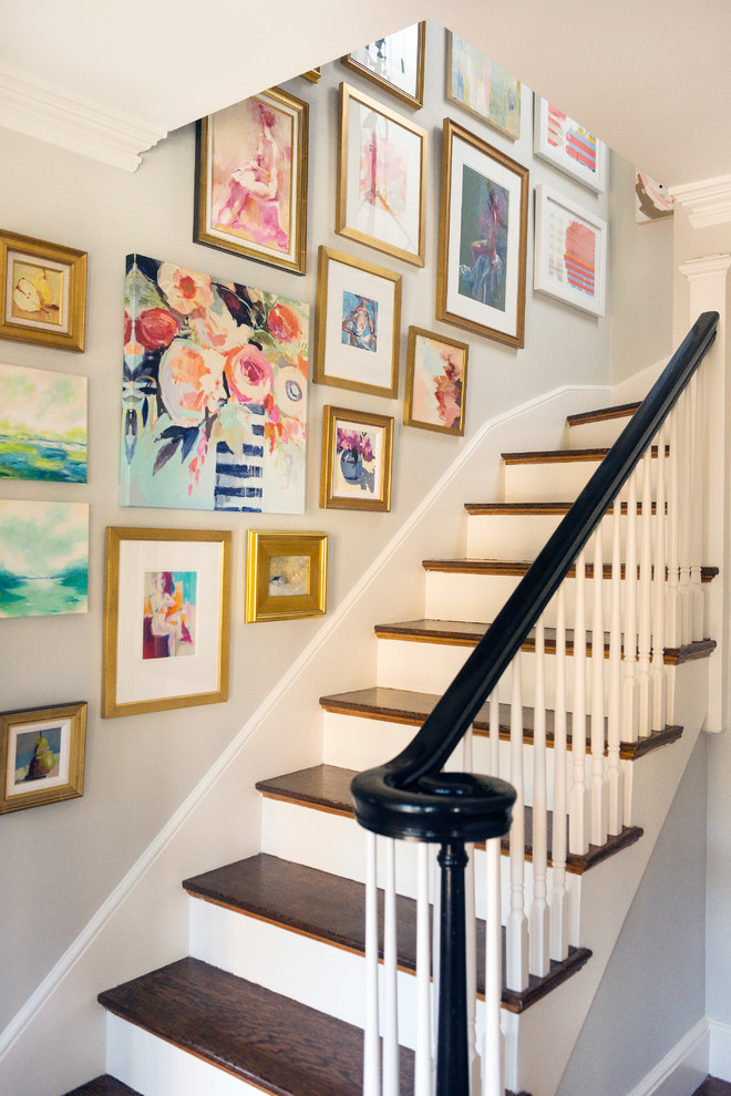 Example of a mid-sized transitional wooden l-shaped wood railing staircase design in Boston