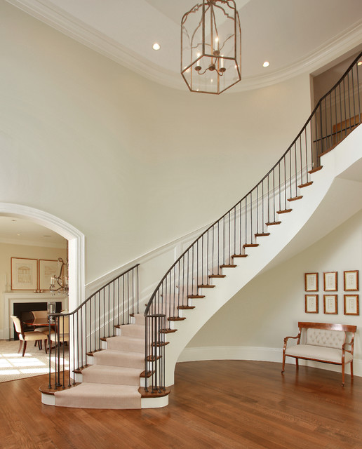 Dramatic Foyer Lighting : Chic dramatic foyer transitional staircase other