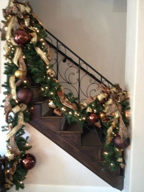 christmas decorating traditional staircase