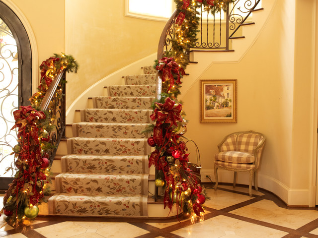 inspiration for a timeless wooden curved staircase remodel in houston - Christmas Staircase