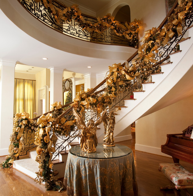 Christmas Interior Design Extraordinary Christmas Interior  Mediterranean  Staircase  Houston .
