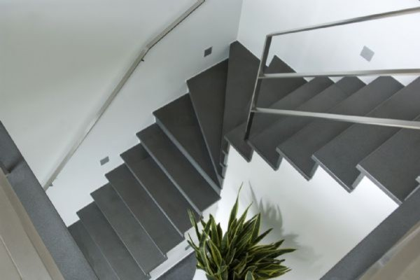 Classic Basalt Tile Honed Stoneskin Mosaic contemporary-staircase