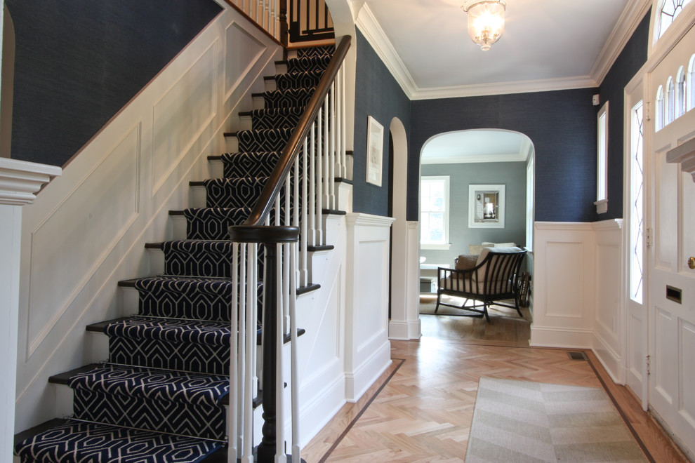 Example of a classic wooden staircase design in Newark