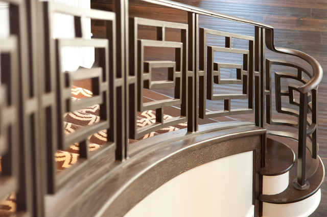 Close Ups: Custom Iron Railing Traditional Staircase