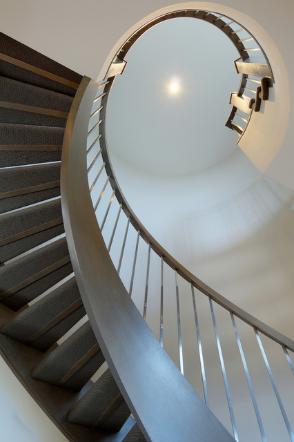 Closed Stringer Open Riser Stair Contemporary