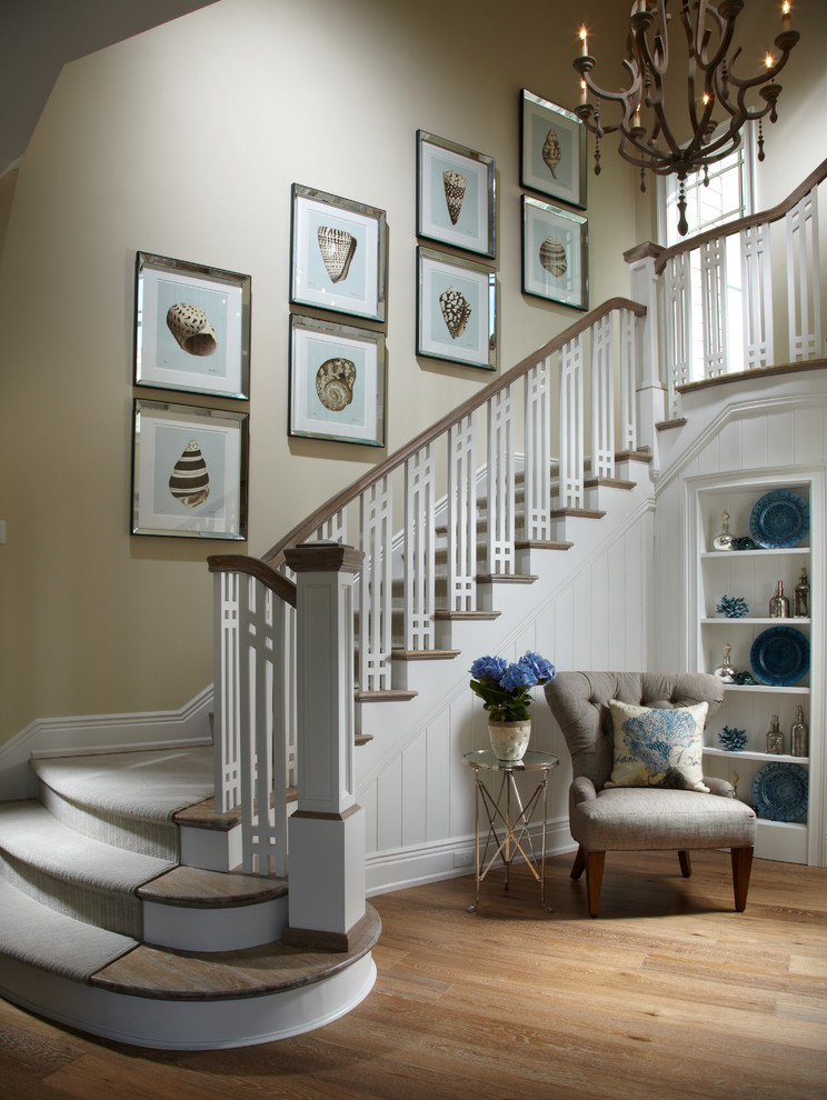 Inspiration for a beach style wooden staircase remodel in Tampa