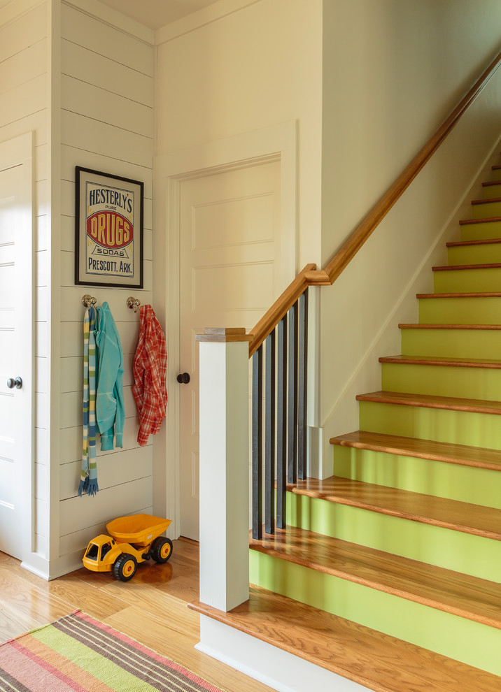 Staircase - mid-sized transitional straight wood railing staircase idea in Little Rock with wooden risers