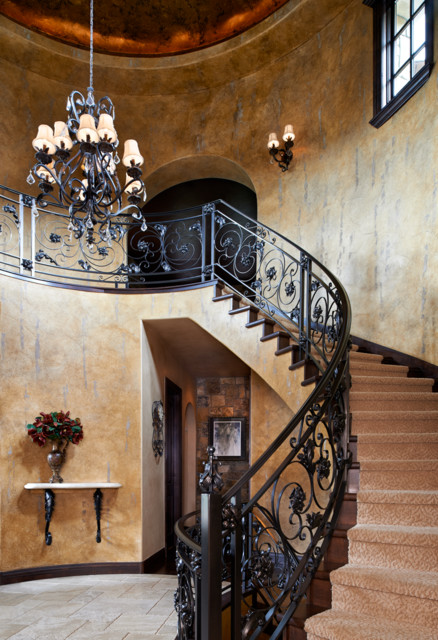 Colorado Tuscan House and Pool - Mediterranean - Staircase - denver - by Gayle Berkey Architects