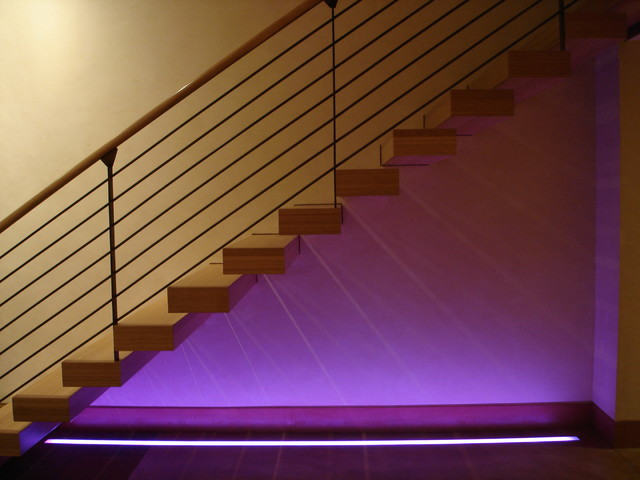 Colored Stair Lighting Contemporary Staircase Denver