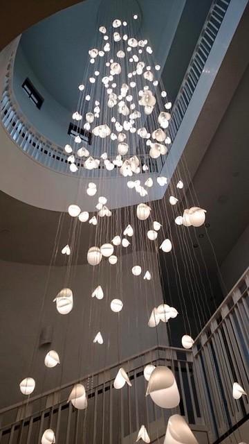 10 Best Of Modern Stairwell Pendant Lighting: CONTEMPORARY EXTRA LONG PENDANT LIGHTING, PEARL SHELL