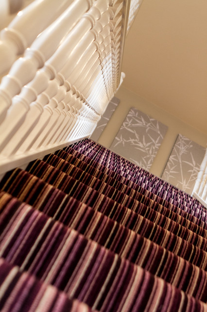 purple striped wallpaper bedroom