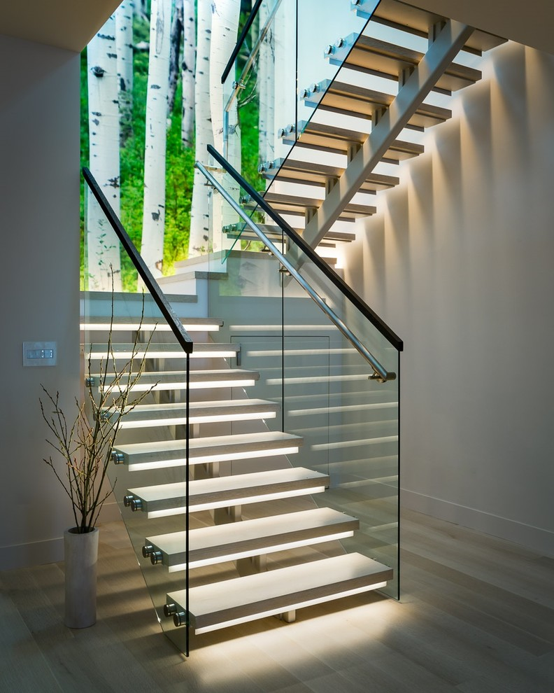 Inspiration for a mid-sized contemporary u-shaped open staircase remodel in San Francisco