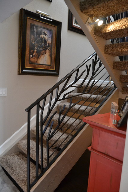Contemporary Organic Stair Railing Tropical Staircase