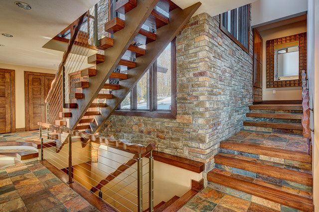 Contemporary Rustic Lake House rustic-entry
