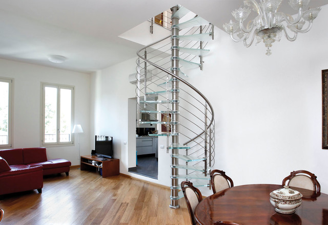 minimalist glass spiral open staircase photo in san francisco