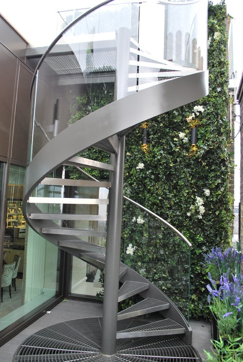 sleek steel spiral staircase