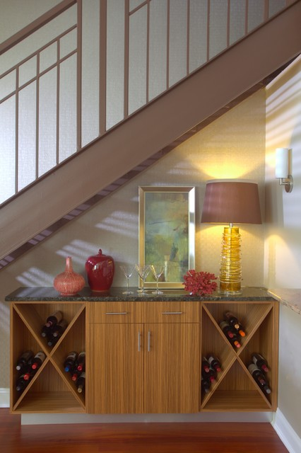 Wine Bar Under Staircase - Contemporary - Staircase - other metro - by Robert Legere Design