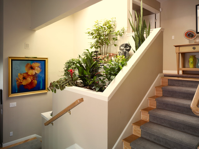 Contemporary Staircase With Indoor Planter Contemporary
