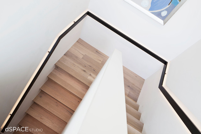 Continuous Blackened Steel Handrail contemporary-staircase