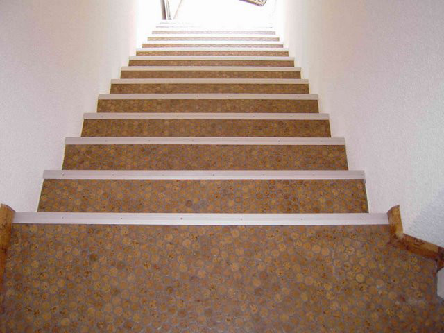 Cork Mosaic Floor Tiles Modern Staircase Other Metro