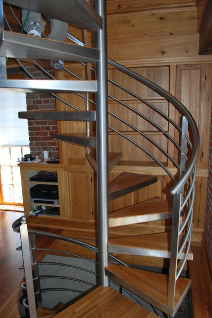 Tower Modern Staircase : Cotton mill clock tower stainless spiral and railings