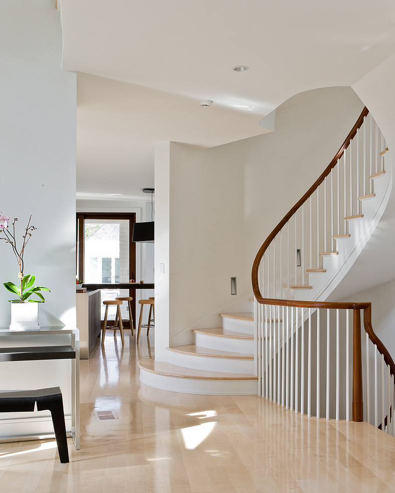 Staircase - contemporary wooden curved wood railing staircase idea in Boston with painted risers