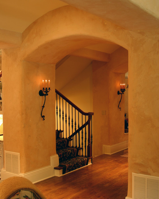 Country french estate hall to stairwell traditional for French country wall paint colors