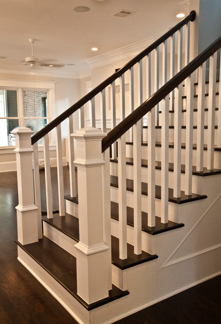 Craftsman staircase transitional staircase houston for Craftsman home builders houston