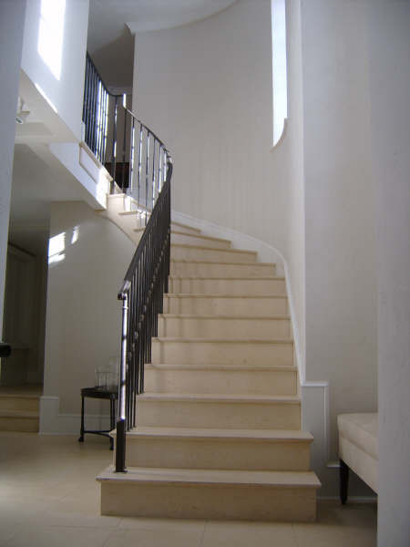 Cream Limestone Stairs Traditional Staircase