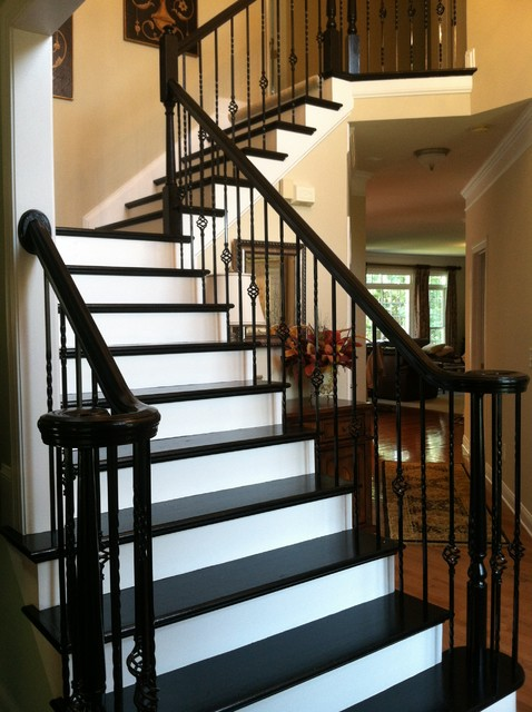 High Quality Creative Idea  Painted Stair Treds By Fox Brothers Painting Traditional  Staircase