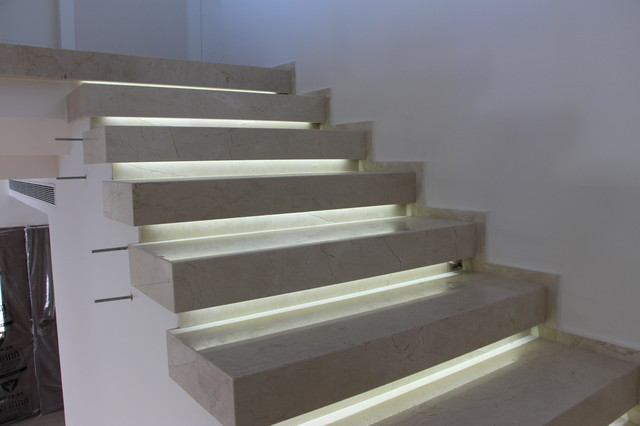 Crema Marfil Marble Staircase Architecture With LED Light